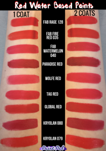 Red swatches side by side