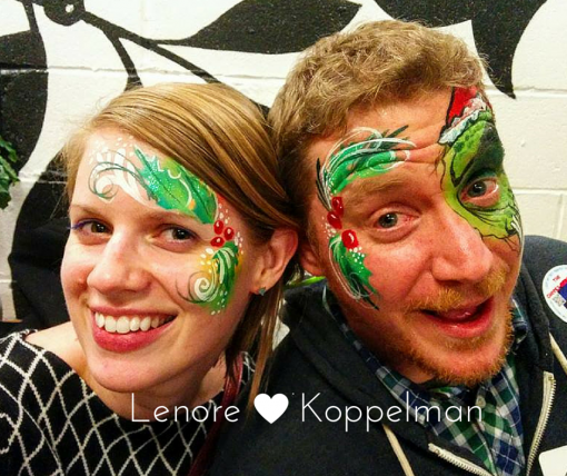 Couples face painting is soooo sweet. Where's the mistle toe