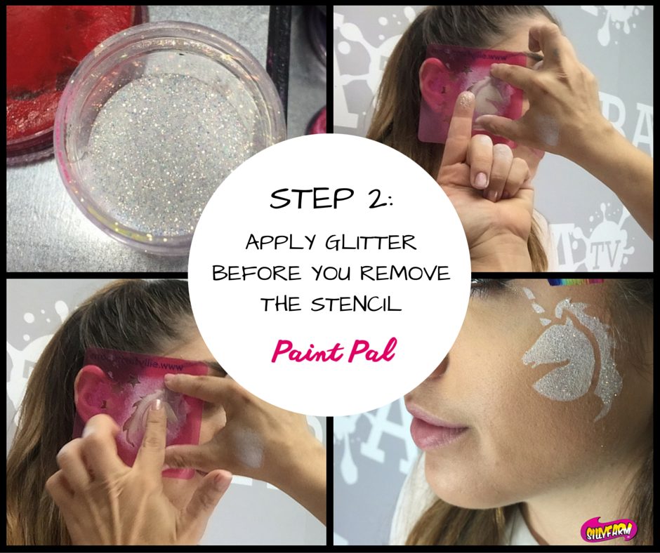 Step 1- Load your sponge with white paintI like FAB because its creamy and doesn't tend to bleed under the stencil.Place stencil on the cheek and press the sponge over the exposed area (1)