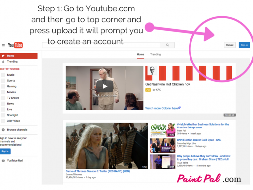 Step 1_ Go to Youtube.comand then go to top corner andpress upload it will prompt you to create an account