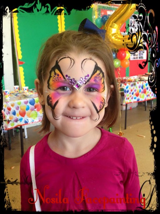 Beautiful butterfly by Allison Formosa of Nosila Face painting