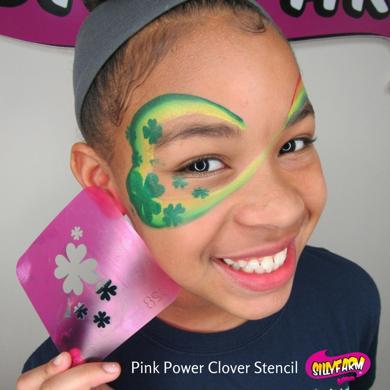 Pink Power Clover Stencil