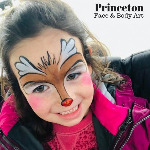 Drea of Princeton Face and Body Art keeps it simply cute with her reindeer